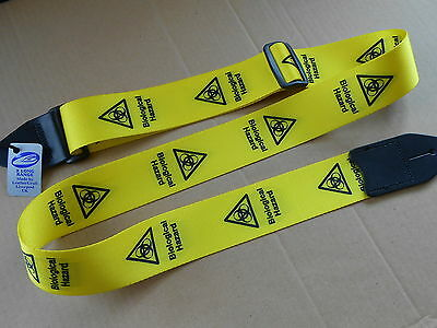 """Uk Made Black On Yellow """"biological Hazard"""" Electric,acoustic Bass Guitar Strap"""