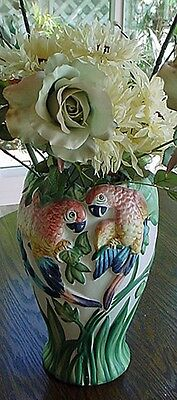 Hand Painted Ceramic Vase with Parrots