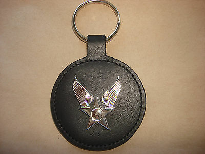 New Unused US AIR FORCE Insignia On Leather Key Chain