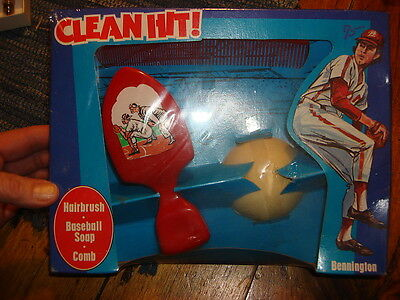 Vintage Bennington CLEAN HIT! BOYS GIFT SET Soap,Brush,Comb,Baseball Theme