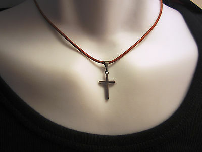 Pure Sterling Silver and Genuine Leather Cross Pendant Necklace - mens/womens