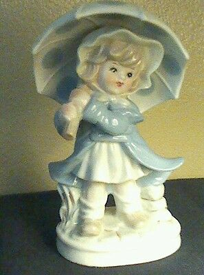 "KPM Porcelain Figurine of Girl With Umbrella and basket  8"" Tall Beautiful"