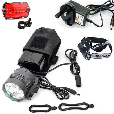 5x Cree XML T6 LED Mountain Bike Lights Rechargeable Bicycle Front Light Lamp UK