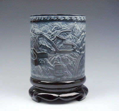 Top Quality Stone Carved In Relief *Great Wall China* Brush Pen Holder Pot