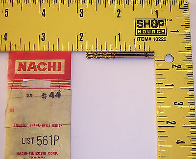 nEw ~ Nachi #44 / .086 TiN Drill bits ~ lathe machinist aviation aircraft tool