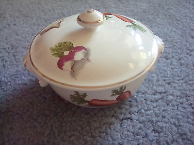"""Oven Proof Oven-to-table Ware 22KT Gold Hand Made GuildCraft  4.5"""" dish lid Veg"""