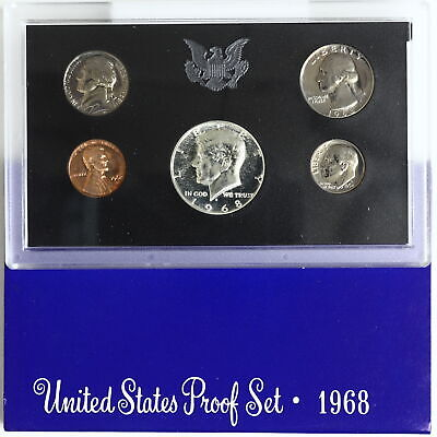 1968 S Proof Set Original Box 40% Silver Kennedy Washington US Mint 5 Coins