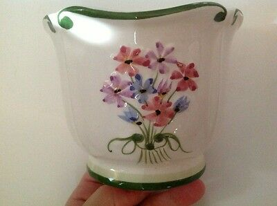 Authentic Vintage RCCL 479 Hand Painted Floral Vase Bowl Planter From Portugal!!