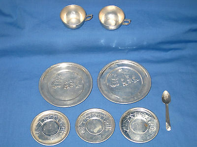 VTG Lot 8 1950s Childs Aluminum Dish set - Mother Cat with Kittens Laundry Day!