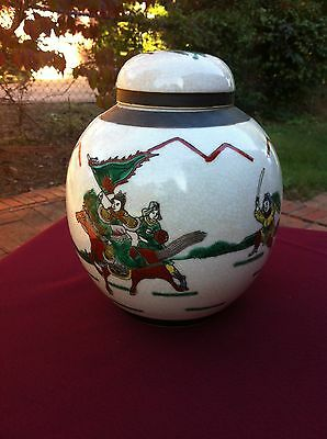 Chinese Famille Verte Crackle Porcelain Jar with Warriors