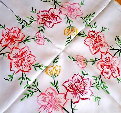 VINTAGE Linen ROSE Tablecloth FLORAL Hand Embroidered SHABBY CHIC Retro GORGEOUS