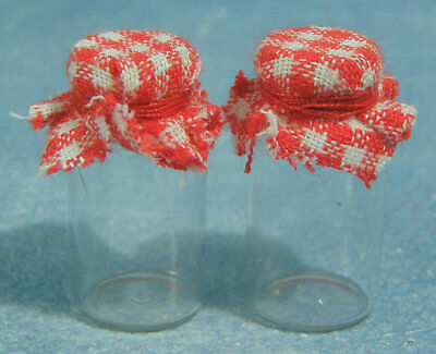 Two Empty Glass Jam Jars, Dolls House Miniature Kitchen Dining Cooking Accessory