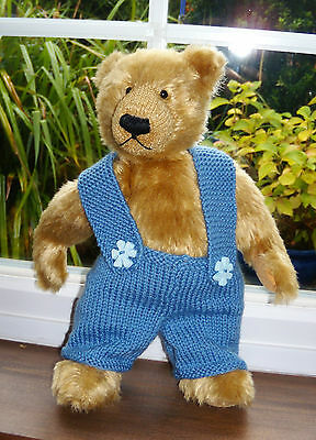 "*Bear knits* Hand Knitted blue dungarees with chunky straps  13"" teddy bear"