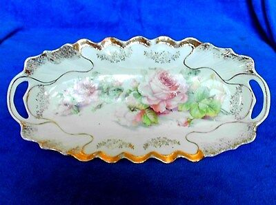 Beautiful Germany Open Handle Pickle Dish With Roses