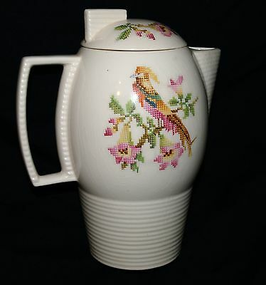 "Leigh Potters Leigh Ware Cross-Stitch Cockatoo Design Coffee/Tea Pot 9"" Tall"