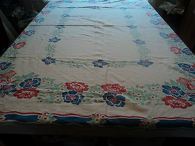VINTAGE TABLECLOTH RED WHITE GREEN BLUE FLORAL 50 1/2 X 59""