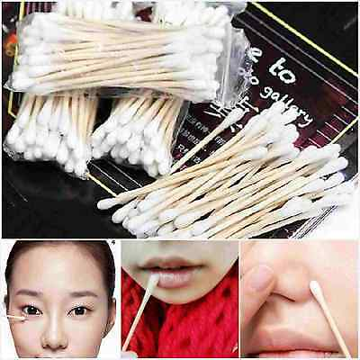 24Pc Cosmetic Wood Cotton Swabs Wooden Handle Makeup Applicator Q-tip Stick NEW