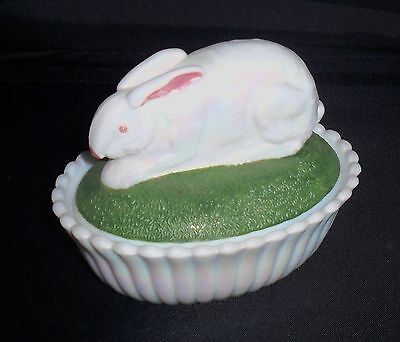 Westmoreland Glass Bunny Easter Bunny Rabbit Hand Painted Covered Box Milk Glass