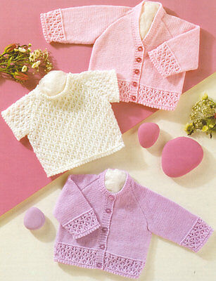 """Lacy/Picot Baby Cardigans & Short Sleeve Sweater Prem 12 - 24"""" 4Ply To Knit"""