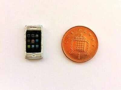 Smart Phone Silver, Dolls House Miniature. 1.12th Scale