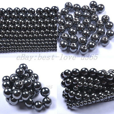 4MM 6MM 8MM 10MM 12MM Ball BLACK MAGNETIC HEMATITE Spacer BEADS Findings