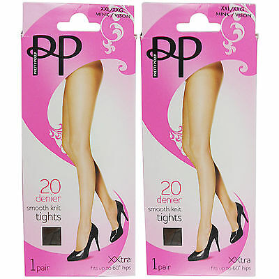 f60c05fe777 New Womens Ladies Plus Size Xx l Tights Pretty Polly 2 Pair Pack Smooth Knit