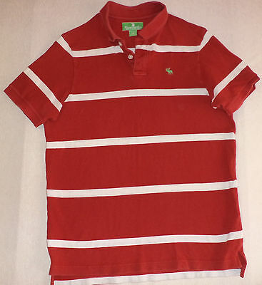 Abercrombie & Fitch S/s Red & White Stripe Button Top Collared Polo  M    K#7598