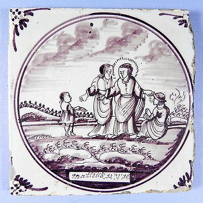 Antique Delft Biblical Tile Manganese 18th-19thC Jesus Holy Spirit Three #9