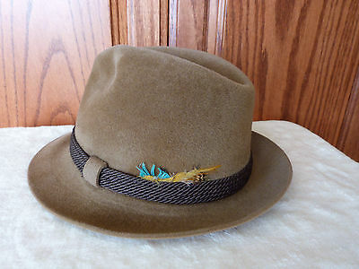 Vintage Dobbs New York  Brown Fur Felt Fedora Long Oval Hat  7 1/8  w/ Feather