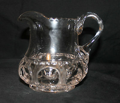 """EAPG """"King's Crown"""" Creamer with Applied Handle - Table Size - Clear"""