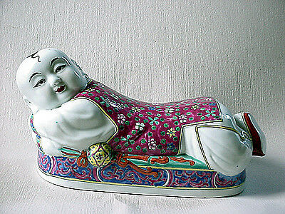 Porcelain Chinese Famille Rose  Republic Period Boy Pillow Or Headrest