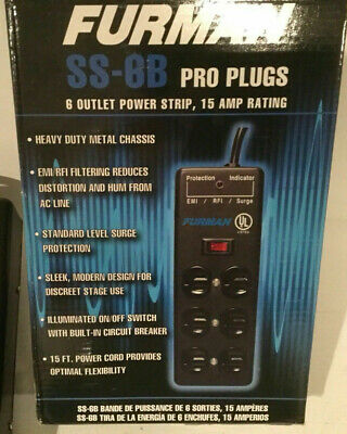 Furman SS-6B Steel Power Strip with 6 Outlets, 15-Feet Power Cord and Standar...