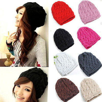Lady Women Knit Winter Warm Crochet Hat Braided Baggy Beret Beanie Cap New Cap