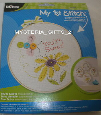 """Embroidery Kit With Floss 6"""" Plastic Hoop #sweet"""