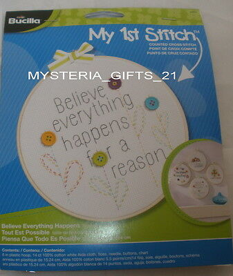 """Embroidery Kit With Floss 6"""" Plastic Hoop #reason"""