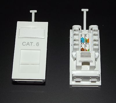 10x Cat6 RJ45 UTP Module - 25x50mm size, Fit In All Universal Type Faceplates