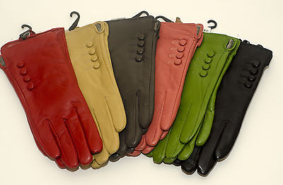 New Ladies Soft Leather Gloves Button Fully Lined Black Blue Green Red Purple
