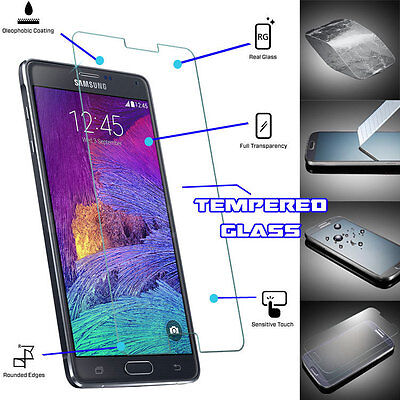 Genuine TEMPERED GLASS Film Invisible Screen Protector For Samsung Galaxy Note 4
