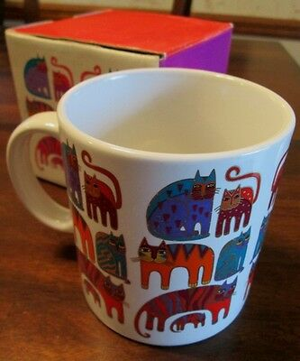 1988 LAUREL BURCH Fantastic Felines MUG IN BOX Cats Jumbo Size Kitty GOLD ACCENT