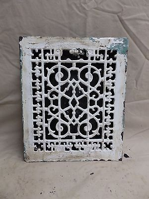 Antique Cast Iron Floor Wall Heat Grate Louvres Victorian Design Old 3816-14