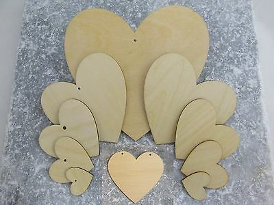 Solid Wooden Love Heart Shapes Craft Supplies Shapes Large & Small Wood Hearts