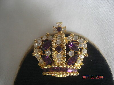 WoW Vtg. Signed CARINA Deep PURPLE & Clear RHINESTONE CROWN PIN BROOCH PENDANT