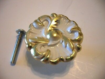 Vintage Ornate White & Brass Plated KNOB with Art Deco