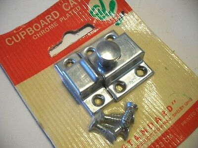 Vtg NOS CHROME Small Hoosier Cupboard Cabinet Door Spring Load Latch Twist Knobs