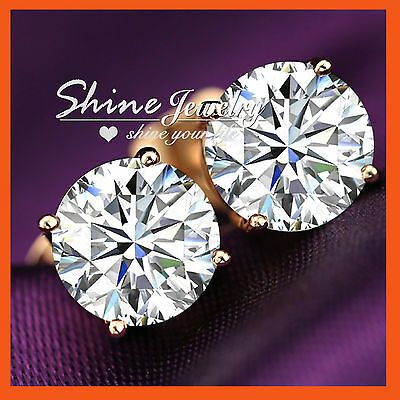 18K ROSE GOLD GF 2CT Simulated Diamond SOLID MENS WOMEN ROUND STUD EARRINGS GIFT