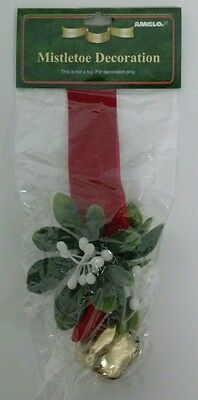 Mistletoe Christmas Tree Ornament Decoration With Bell And White Berries New
