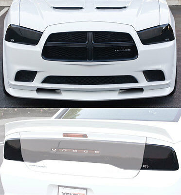 11-14 Charger Acrylic Smoke GTS Headlight Fog Driving Light Taillight Covers 6pc