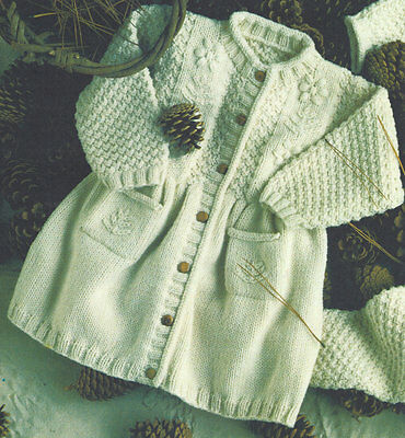Pretty Baby Girls Coat / Embroidery Detail 6 mths ~ 2 yrs  DK Knitting Pattern