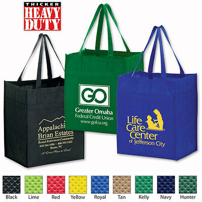 HEAVY DUTY GROCERY POLY-AIR TOTES - 100 quantity - Custom Printed with Your Logo