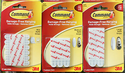 3M Command Replacement Strips Small Medium Large Picture Poster Frame Hanging